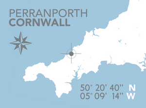 Perranporth Map Travel Print- Coastal Wall Art /Poster