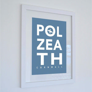 Polzeath Typographic Seaside Word Print - Coastal Wall Art