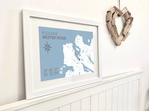 Poolewe Map Print - Coastal Wall Art /Poster