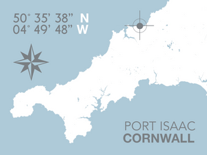 Port Isaac Map Travel Print- Coastal Wall Art /Poster