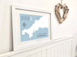 Port Quin Map Travel Print- Coastal Wall Art /Poster
