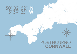 Porthcurno Map Travel Print- Coastal Wall Art /Poster