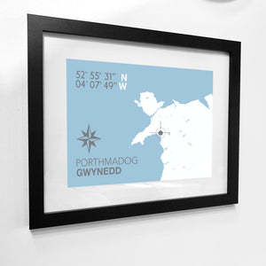 Porthmadog Map Travel Print - Coastal Wall Art /Poster