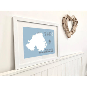 Portrush Map Seaside Wall Art- Coastal Wall Art