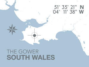 Gower Map Seaside Print - Coastal Wall Art /Poster