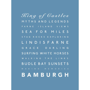Bamburgh Typographic Travel Print- Coastal Wall Art /Poster