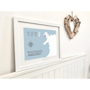 Rhosneigr Nautical Map Typographic Seaside Print - Coastal Wall Art /Poster