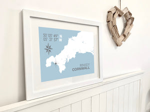 Rinsey Map Travel Print- Coastal Wall Art /Poster
