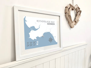 Rotherslade Bay Map Seaside Print - Coastal Wall Art /Poster