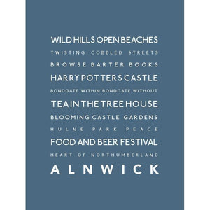 Alnwick Typographic Travel Print- Coastal Wall Art /Poster
