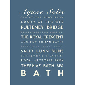 Bath Typographic Travel Print/Poster Seaside Art by SeaKisses