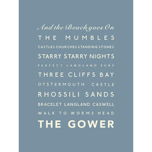 The Gower Typographic Travel Print- Coastal Wall Art /Poster