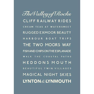 Lynton & Lynmouth Typographic Travel Print- Coastal Wall Art /Poster