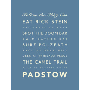 Padstow Typographic Travel print- Coastal Wall Art /Poster