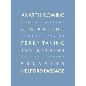 Helford Typographic Travel Print - Coastal Wall Art /Poster