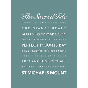 St Michael's Mount Typographic Travel poster Coastal Wall Art by SEaKisses