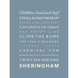 Sheringham Typographic Travel Print - Coastal Wall Art /Poster