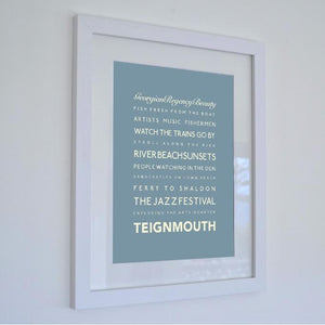 Teignmouth Typographic Travel Print Coastal Wall Art by SeaKisses