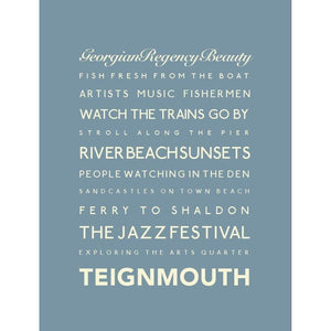 Teignmouth Typographic Seaside Print - Coastal Wall Art