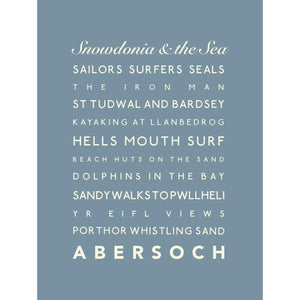 Abersoch Typographic Travel Print Coastal Wall Art by SeaKisses