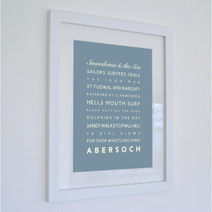 Abersoch Typographic Seaside Print - Coastal Wall Art /Poster
