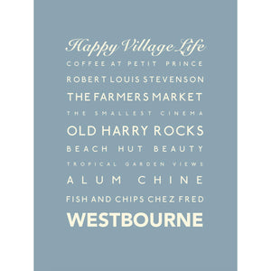 Westbourne Typographic Travel Print Coastal Wall Art by SeaKisses