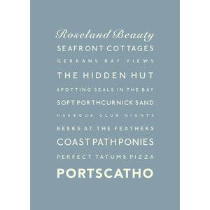 Portscatho Typographic Seaside Print - Coastal Wall Art /Poster