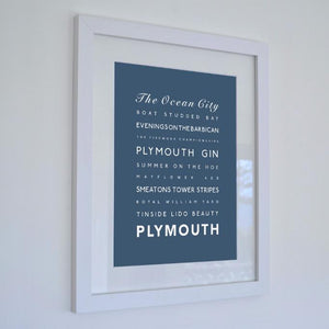 Plymouth Typographic Travel Print - Coastal Wall Art
