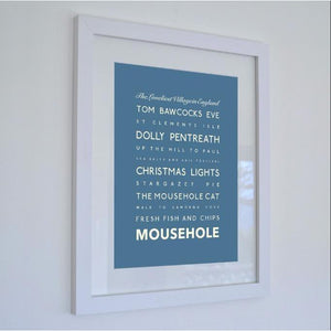 Mousehole Typographic Travel Print- Coastal Wall Art