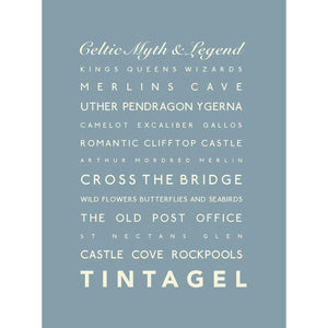 Tintagel Typographic Travel Print- Coastal Wall Art /Poster