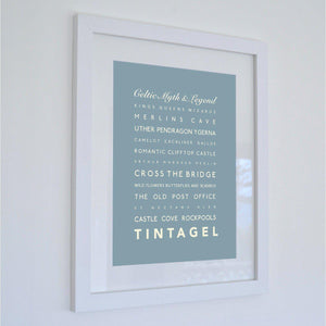 Tintagel Typographic Travel Print- Coastal Wall Art