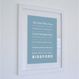 Bideford Typographic Travel Print- Coastal Wall Art /Poster