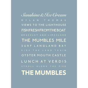 Mumbles Typographic Travel Print - Coastal Wall Art /Poster