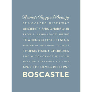 Boscastle Typographic Travel Print - Coastal Wall Art /Poster