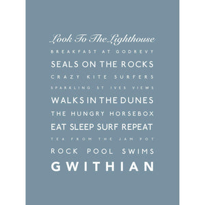 Gwithian Typographic Travel Print- Coastal Wall Art /Poster