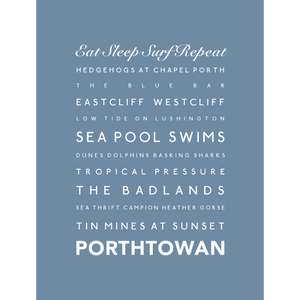 Porthtowan Typographic Travel Print - Coastal Wall Art /Poster