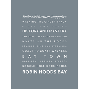 Robin Hoods Bay Typographic Seaside Print - Coastal Wall Art /Poster