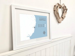 Dunwich Nautical Map Print - Coastal Wall Art /Poster