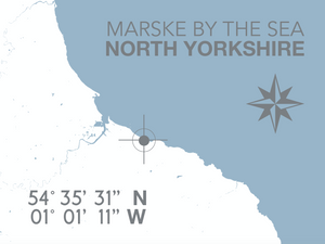 Marske By The Sea Map Travel Print- Coastal Wall Art /Poster