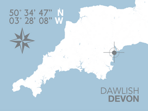 Dawlish Map Travel Print- Coastal Wall Art /Poster