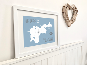 Isle of Tiree Map Travel Print - Coastal Wall Art /Poster