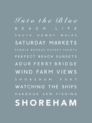 Shoreham Typographic Print- Coastal Wall Art /Poster