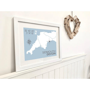Sidmouth Map Travel Print- Coastal Wall Art /Poster