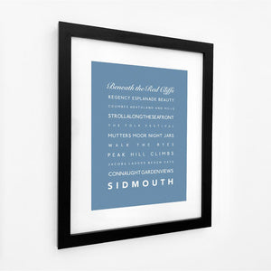 Sidmouth Typographic Travel Print- Coastal Wall Art /Poster