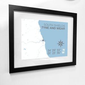 South Shields Map Travel Print - Coastal Wall Art /Poster