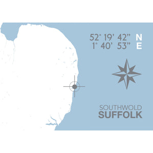 Southwold Map Travel Print- Coastal Wall Art /Poster