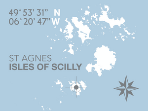 St Agnes, Isles of Scilly Map Travel Print- Coastal Wall Art /Poster