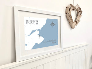 St Andrews Map Print - Coastal Wall Art /Poster