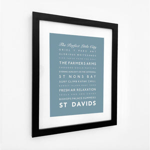 St Davids Typographic Travel Print - Coastal Wall Art /Poster