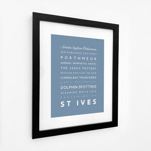 St Ives Typographic Travel Print- Coastal Wall Art /Poster